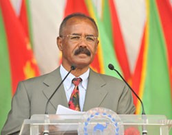 President Afwerki delivering speech at the 23rd Independence Anniversary