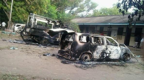50 insurgents flying black Islamist flags swept into a Kenyan coastal town firing guns in an unprecedented attack
