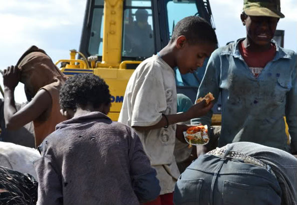 Korah dump site in Addis Ababa.  Hundreds survive from food that was dumped at the site