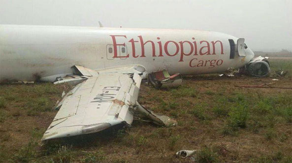 Ethiopian Cargo Plane Crash-Lands At Accra Airport