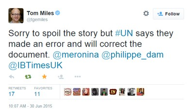Tom Miles confirming UN made the forgery