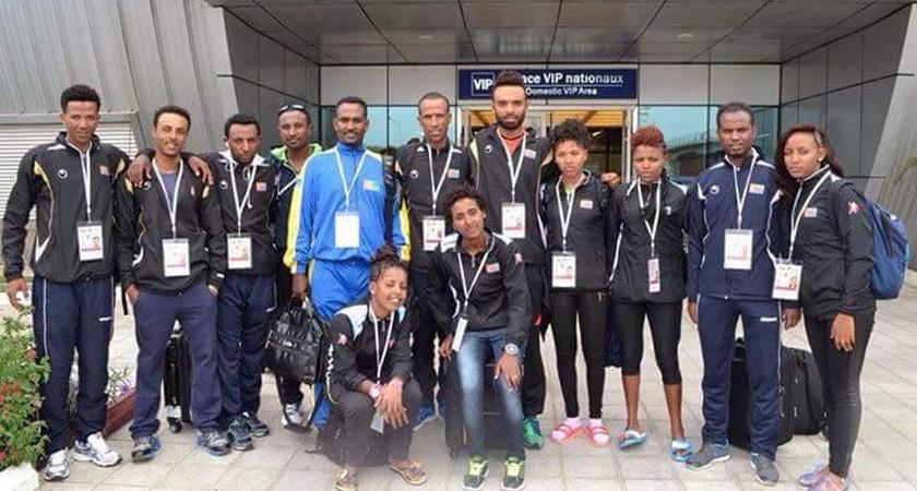Eritrean cycling team in brazzaville