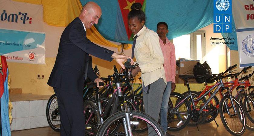 Turkish Embassy donates bicycles