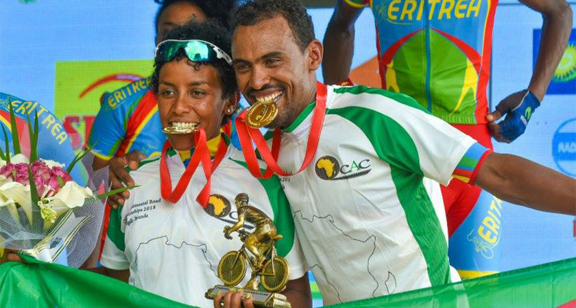 Eritrea's finest cycling stars Mekseb and Mosana Debesay