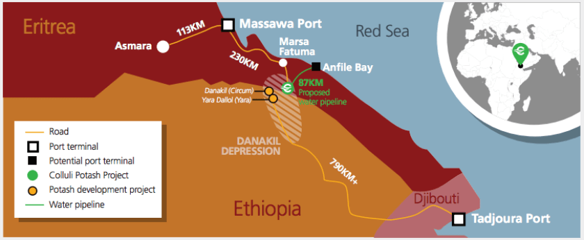 Eritrea is considering building a new port at Anfile bay for potash exports from its world-class Colluli potash deposits