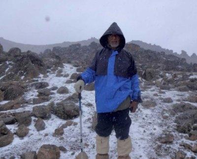 Dr. Naigzy Gebremedhin on his 13th climb at Mount Kenya