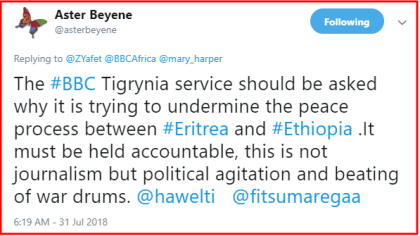 BBC Tigrinya service anti peace