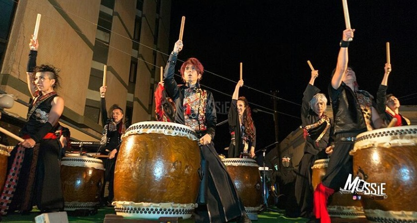 Japanese cultural troupe the Heavense performing on the streets of Asmara