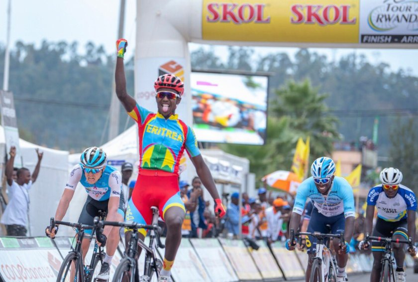 Biniam Girmay winning stage 5 of Tour du Rwanda 2019.