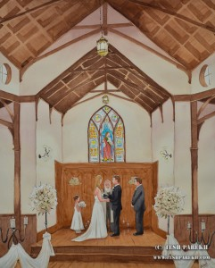Kathe and Todd. Wedding Painting of All Saints Chapel Ceremony. 20x16 Watercolor Studio Commission.