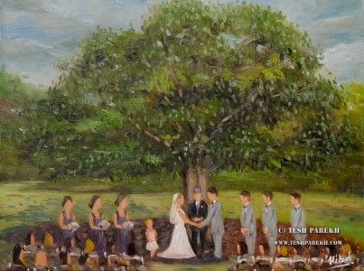 """Allie & Tyler"". Live wedding ceremony painting. Oil on linen. 18x24."