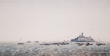 Apollo Bunder, Mumbai. 11x21. Watercolor on paper.