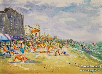 Beach Scene. Myrtle Beach SC. 9×12. Watercolor on paper. Plein Air.