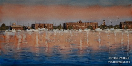 New Bern morning. 11x21. Watercolor on paper.
