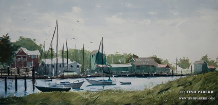 Old Yacht Basin. Plein Air. Watercolor on paper.