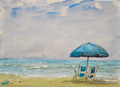 myrtle-beach-sc-plein-air-beach-painting-watercolor-1-tesh-parekh