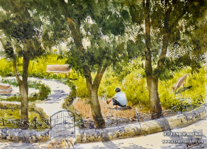 """""""The Gardner"""". 9x12. Watercolor on paper. By Tesh Parekh"""