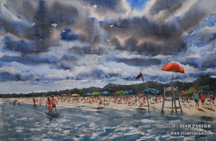 """Red Flag, Myrtle Beach"". 14x21. Watercolor on paper. Artist - Tesh Parekh"