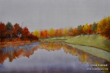"""Cloudy Day, North Ridge"". 14x21. Watercolor on paper. Artist - Tesh Parekh"