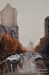 Raleigh Downtown on a rainy day. 21x14. Watercolor on a paper. Artist - Tesh Parekh