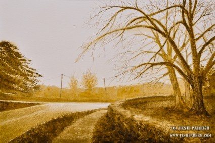 Bend in the road. 14x21. Watercolor on paper. Artist - Tesh Parekh