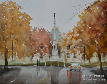After the rain- NC State Capitol. 16x20. Watercolor.