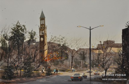 UNC Bell Tower. Plein air. Watercolor. 14x21. Artist - Tesh Parekh