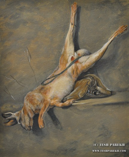 After Chardin. Hare with Powder Flask and Game Bag. Watercolor and Gouache on paper. 17x14. Artist - Tesh Parekh