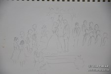 Ceremony sketched live in pencil. I use my sketches for reference.