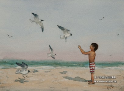 Feeding the seagulls. Watercolor painting on paper.