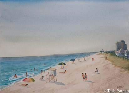 Sunny Day, Wrightsville Beach. Plein air. Watercolor painting on paper.