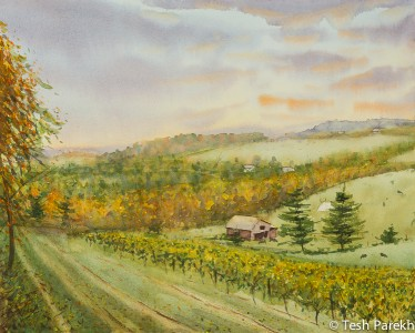 Morning, Galax VA. Watercolor painting on paper.