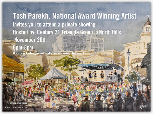 Invitation for Tesh Parekh pop up gallery on November 20th from 6pm-8pm