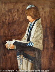 Bar Mitzvah Portrait. Watercolor painting on paper.