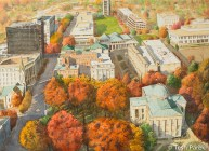 Raleigh Autumn. Watercolor painting on paper.