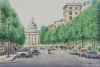 Sunny Day, Raleigh Downtown. Watercolor painting on paper.