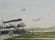RDU Takeoff. Plein Air Watercolor painting on paper.