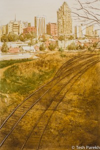 Railroad to Raleigh. Watercolor painting on paper. 21.5x14