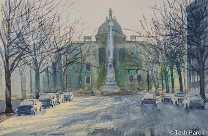 capitol Morning. 14x21. Watercolor painting on paper