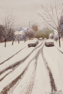 Snowbound. Watercolor painting on paper. 21x14