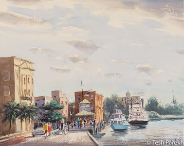 """""""Water Street, Wilmington"""". 16x20. Plein Air Watercolor painting on paper. Available. Wilmington Paintings."""