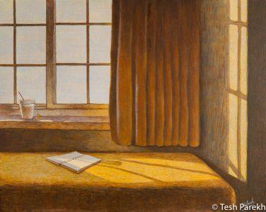 """Flow"" Egg Tempera painting on panel. 16x20. Artist: Tesh Parekh"