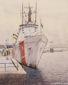 """USCGC Diligence"". 14x11. Plein Air Watercolor painting on paper. Available. Wilmington Paintings."