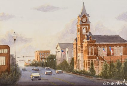 """New Hanover County Courthouse"". 13x19. Watercolor painting on paper. Available. Wilmington Paintings."