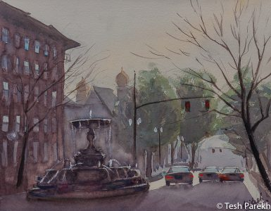 """Kenan Memorial Fountain, Wilmington"". 11x14. Plein Air Watercolor painting on paper. Available. Wilmington Paintings."