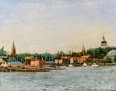 Annapolis Harbor. 11x14. Oil on panel. Paintings of Annapolis