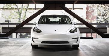 White Tesla Model 3 front