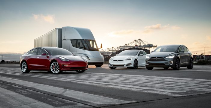 Tesla's motor vehicles posing next to each other