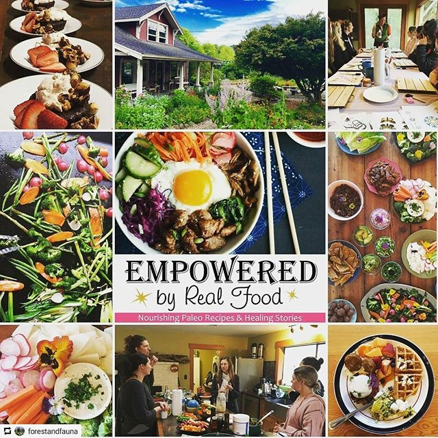 collage of weekend in nehelem oregon celebrating release of empowered by real food cookbook