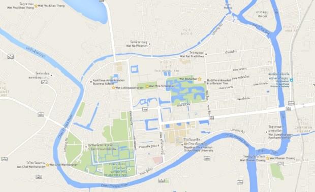 plattegrond tempels Ayutthaya
